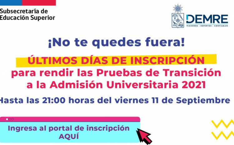Plazo de inscripción a la prueba de transición 2021 se extiende hasta el 11 de septiembre