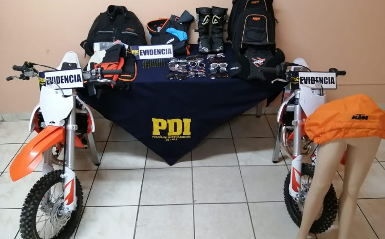 PDI recupera especies robadas en  alunizaje en tienda KTM de La Serena
