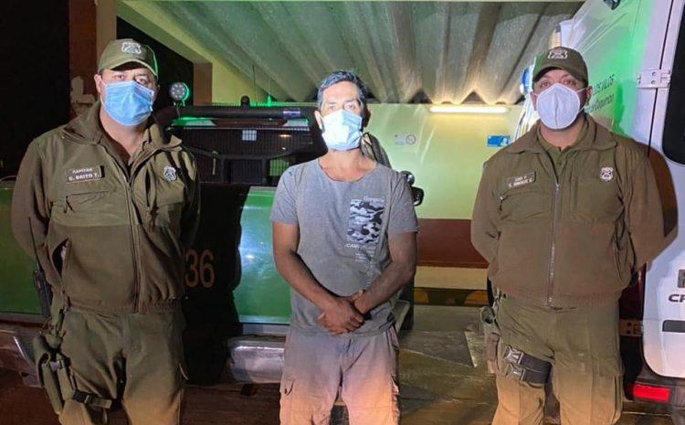 Carabineros rescató a hombre que llevaba dos días perdido en cerros de Canela