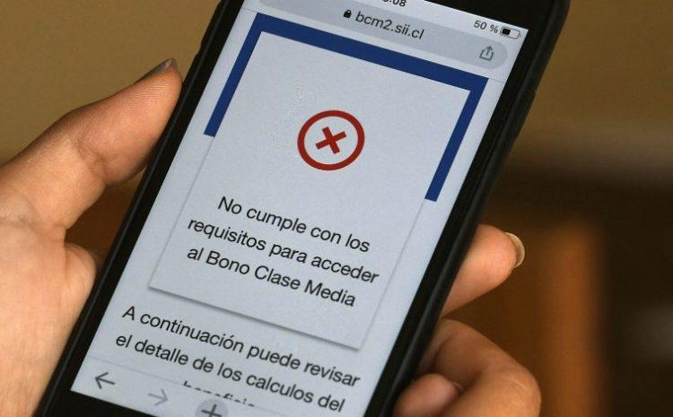 """Bono Clase Media: SII retirará la """"X"""" roja en mensaje de solicitudes que no cumplen con los requisitos del beneficio"""