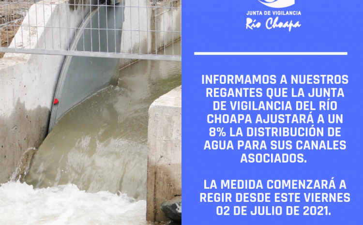 Distribución de agua del Río Choapa se ajustará a un 8% para todos los canales asociados