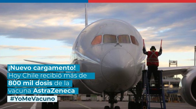 Llega a Chile nuevo cargamento con 816 mil dosis de AstraZeneca